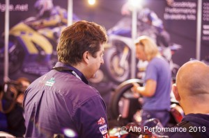 Henry Cole on a busy Goodridge stand at Motorcycle Live